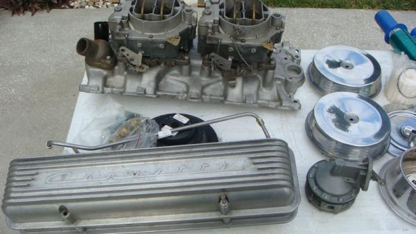 Beige 1957 Chevrolet Corvette Engine Parts
