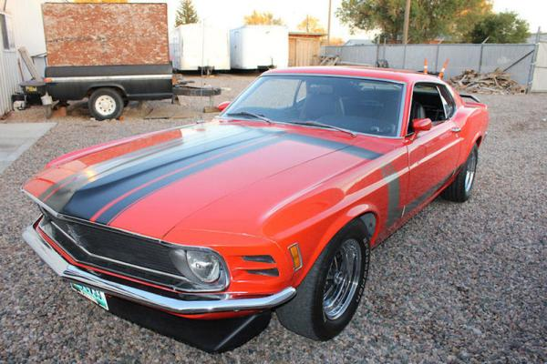 Red 1970 Ford Mustang Boss 302 Front Corner