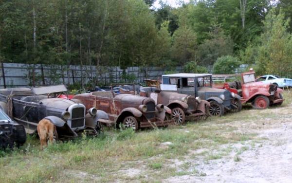 Field Full Of Pre War Cars In Maine