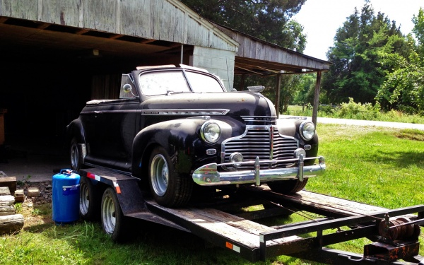 1941 Chevy Cabriolet on trailer