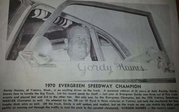Gordy Haines in 1970