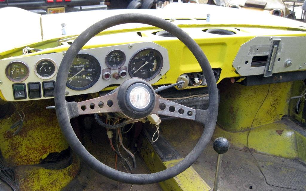 Yellow Fiat 850 Interior
