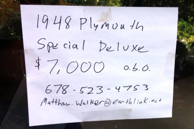 Plymouth For Sale Sign