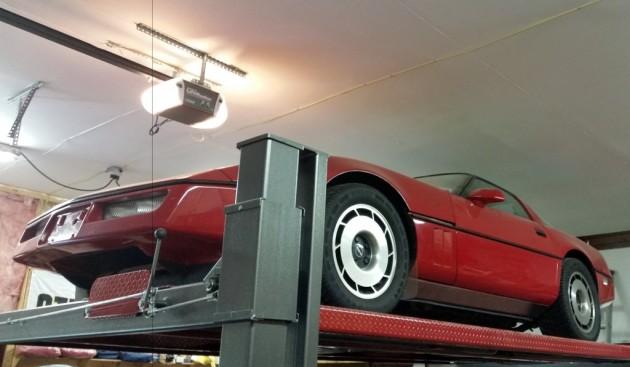 1985 Corvette on the lift