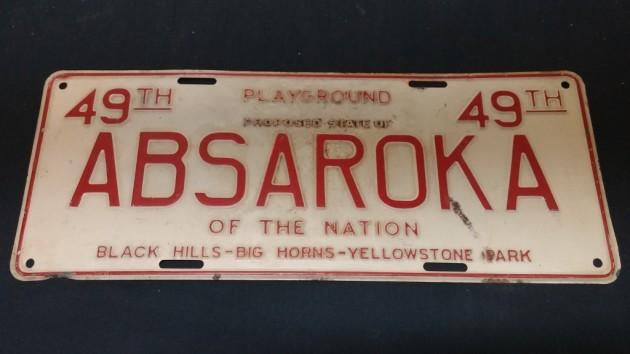 Rare Absaroka License Plate