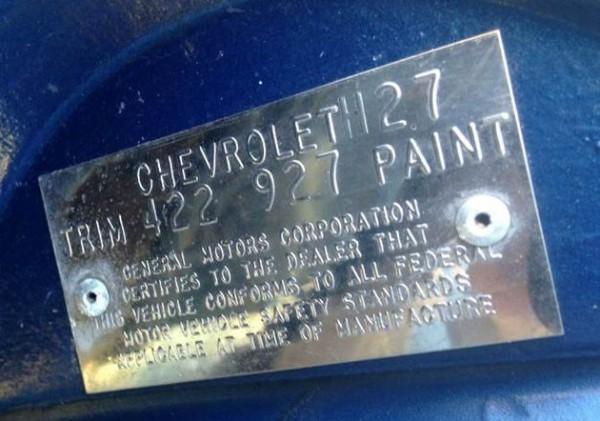 '73 Corvette Body Tag