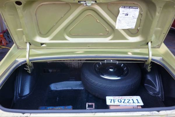 73 Mustang trunk view