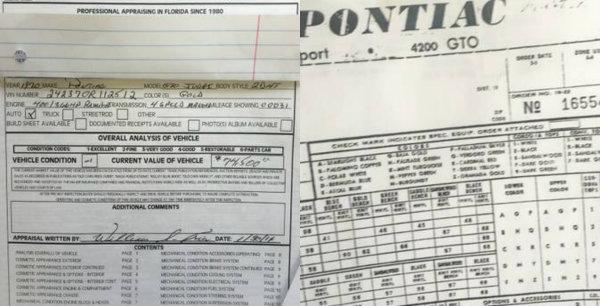 Pontiac GTO Judge Paper work