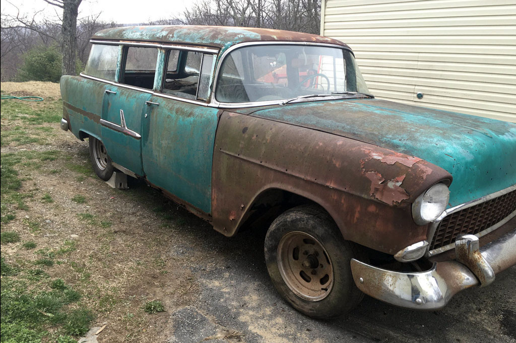 ratty four door 1955 chevrolet wagon