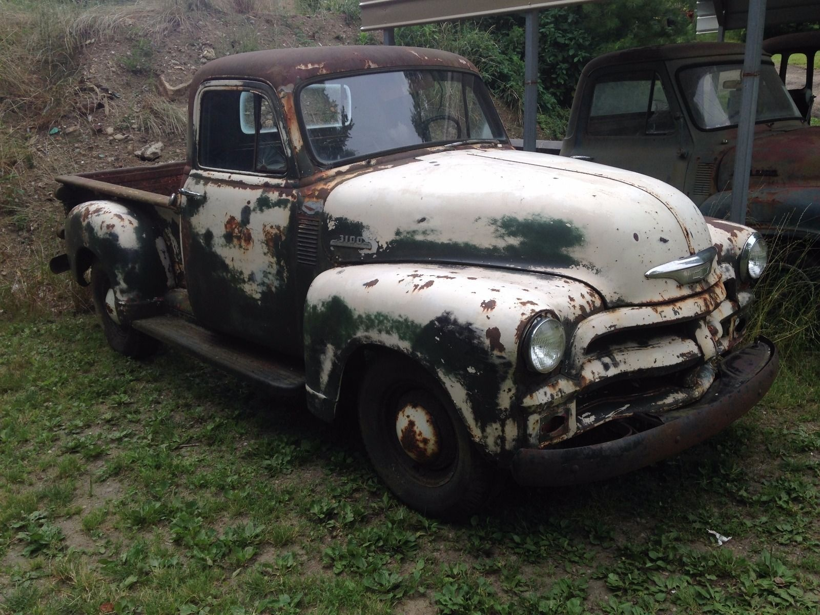 White Green And Rusty 1954 Chevy 3100