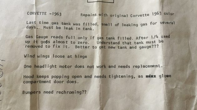 1963 Corvette Paperwork