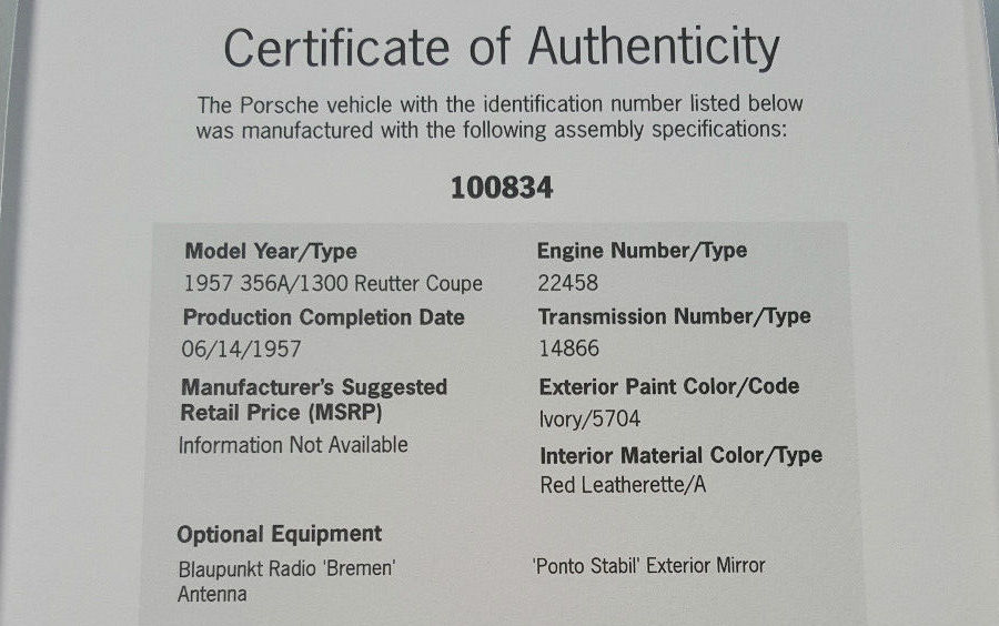 porsche certificate authenticity bargain 356a bathtub 1957