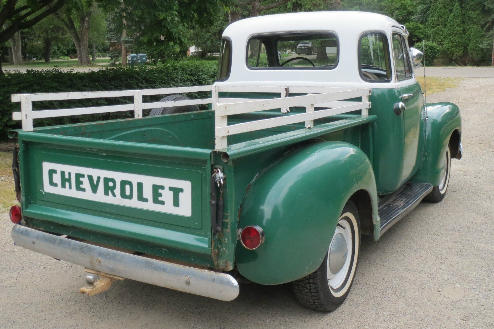 1954 Chevrolet Two Tone Truck Pickup I Love The Stake Sides On This White Walls Wheels Roof And Trim Just Really Make Green Pop Its Such A Period Color