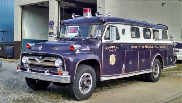 It's Purple! 1955 Ford F750 Fire Rescue Truck