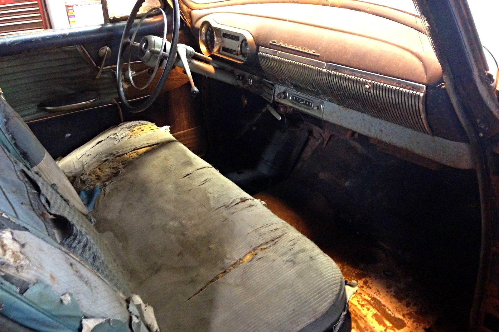 Solid Potential 1954 Chevrolet Bel Air 4 Door Inside There Is A Worn Bench Seat And Some Beat Up Panels The Dash Wears Nice Patina Trim All Accounted For