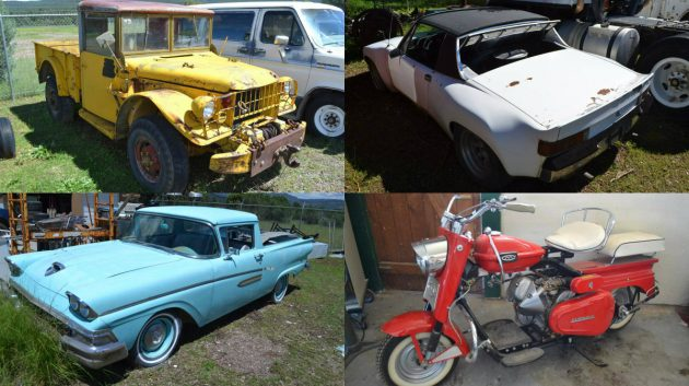 Huge Auction Hoard: Tons Of Trucks, Two Porsches, A Ranchero And Cushmans?