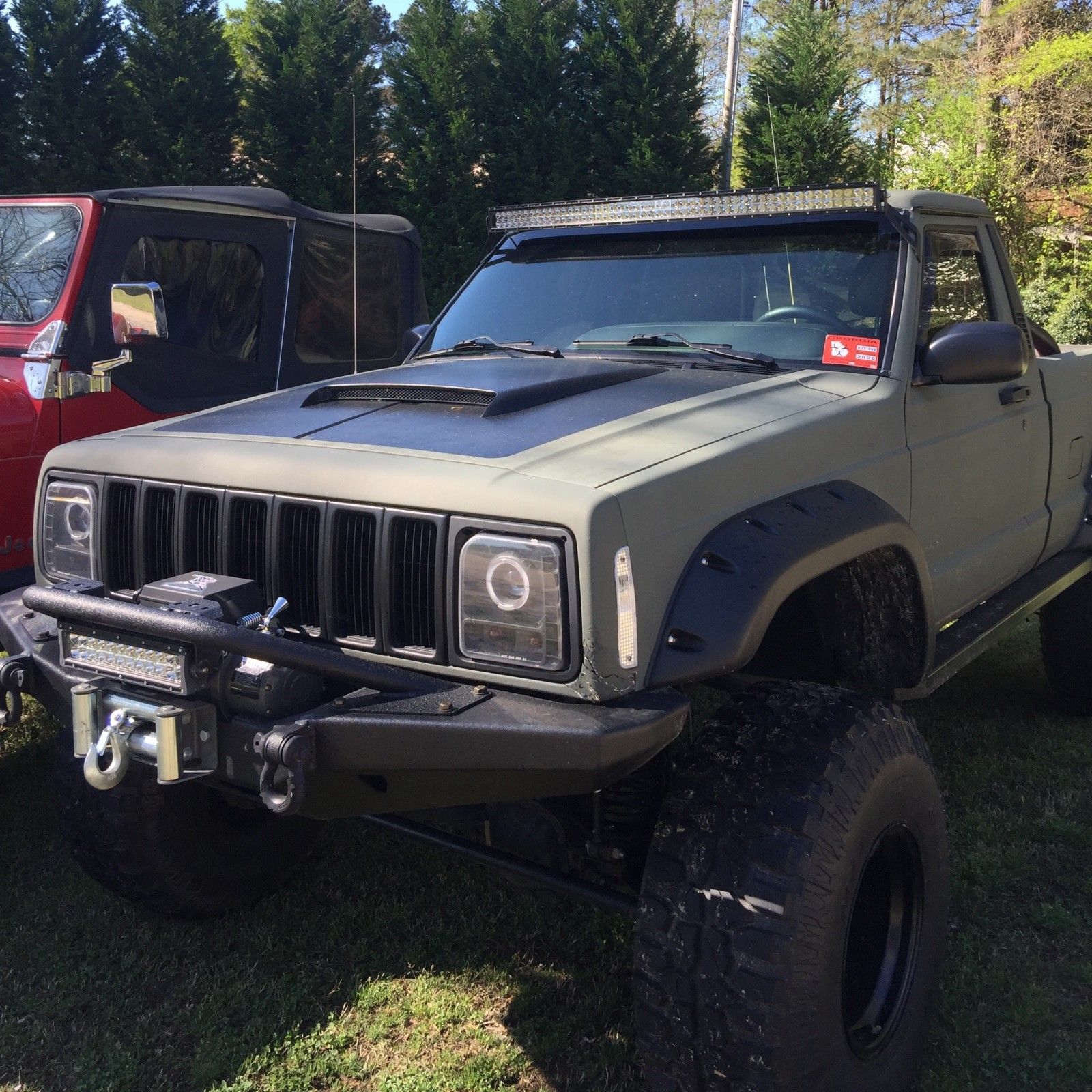 100 1988 jeep comanche 50inch curved led light bar mount