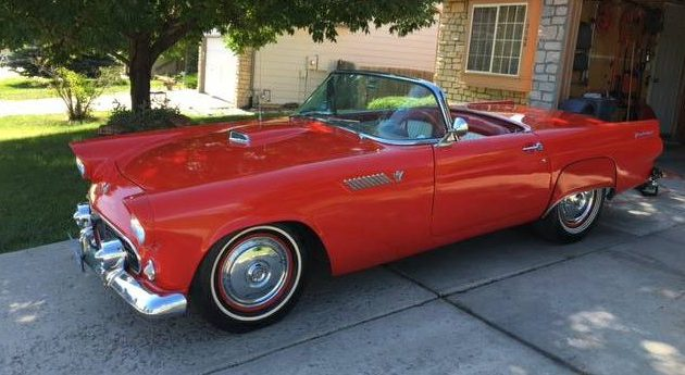 Shiny Red Bird  1955 Ford Thunderbird