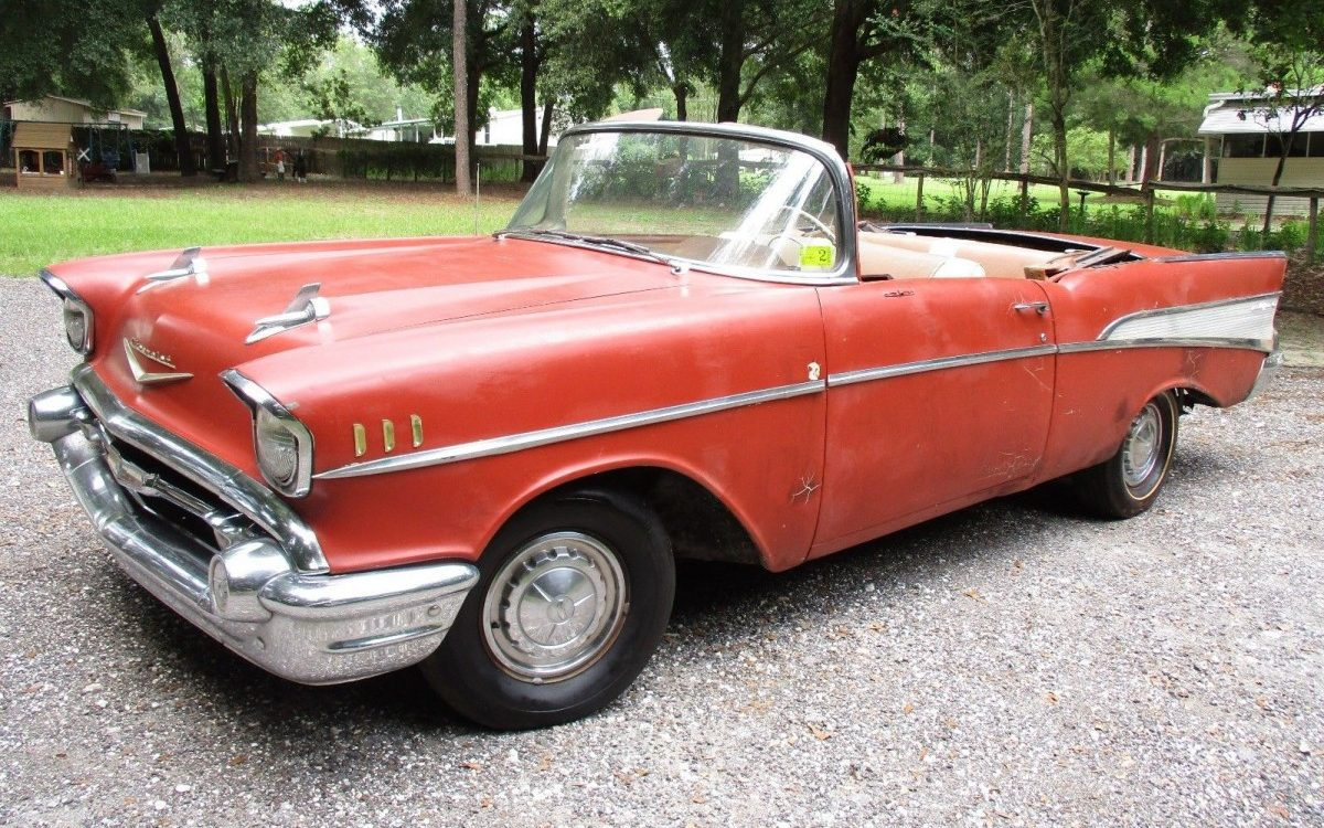 red and rusty 1957 chevy chevrolet bel air convertible. Black Bedroom Furniture Sets. Home Design Ideas